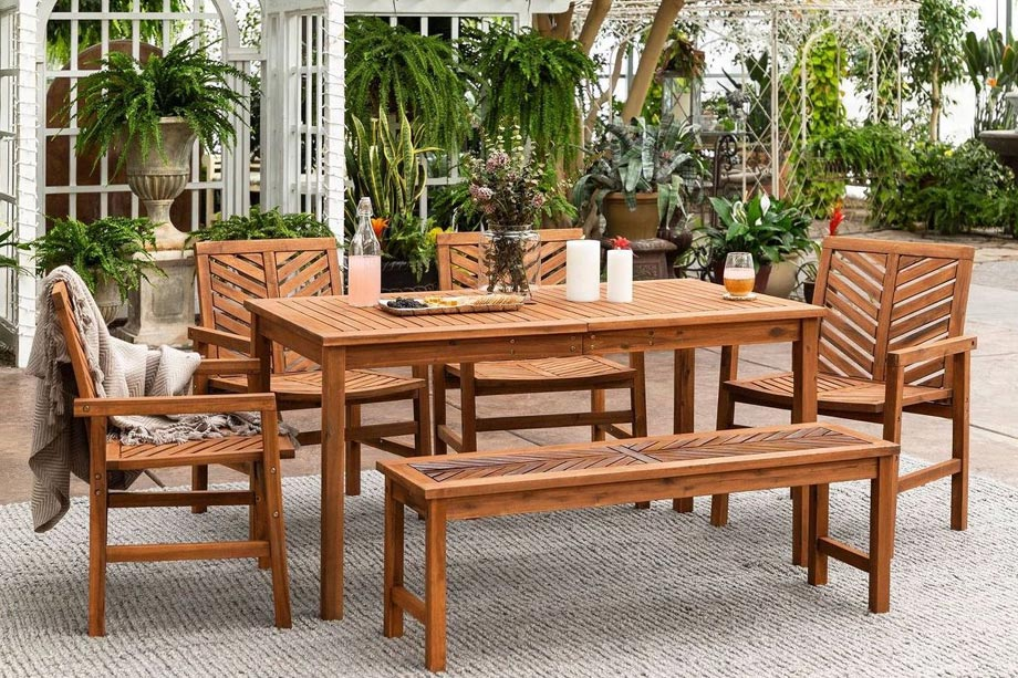 wooden outdoor table and chairs